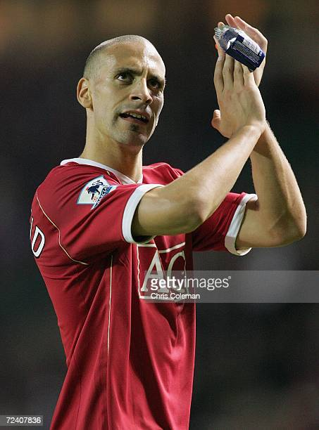 Rio Ferdinand of Manchester United applauds the fans after the Barclays Premiership match between Manchester United and Portsmouth at Old Trafford on...