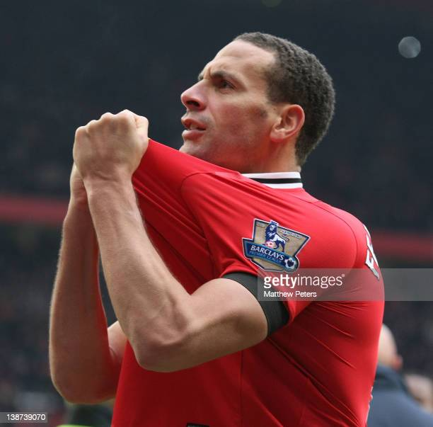Rio Ferdinand of Manchester United celebrates after the Barclays Premier League match between Manchester United and Liverpool at Old Trafford on...
