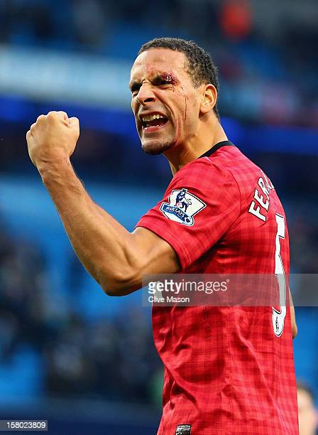 Rio Ferdinand of Manchester United celebrates at the end of the Barclays Premier League match between Manchester City and Manchester United at the...