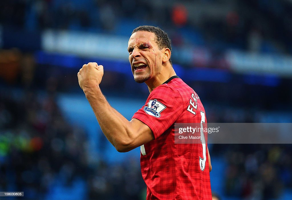 <a gi-track='captionPersonalityLinkClicked' href=/galleries/search?phrase=Rio+Ferdinand&family=editorial&specificpeople=157538 ng-click='$event.stopPropagation()'>Rio Ferdinand</a> of Manchester United celebrates at the end of the Barclays Premier League match between Manchester City and Manchester United at Etihad Stadium on December 9, 2012 in Manchester, England.