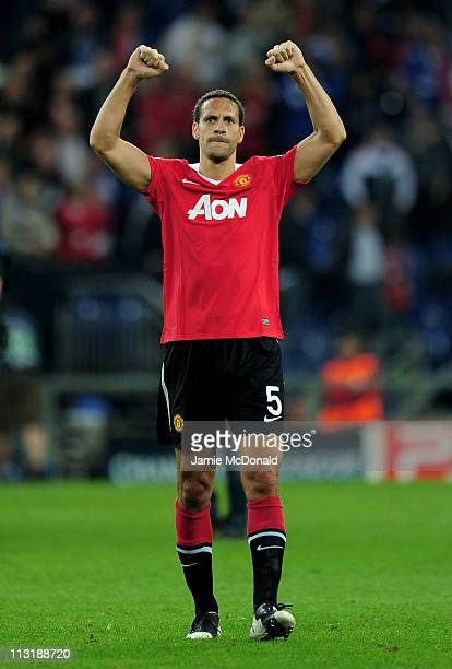 Rio Ferdinand of Manchester United celebrates at the end of the UEFA Champions League Semi Final first leg match between FC Schalke 04 and Manchester...