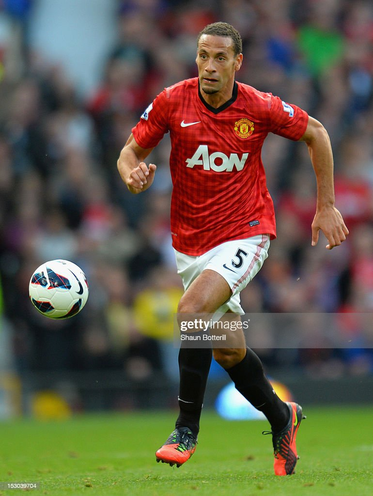 Rio Ferdinand of Manchester United controls the ball during the Barclays Premier League match between Manchester United and Tottenham Hotspur at Old Trafford on September 29, 2012 in Manchester, England.