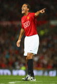 Rio Ferdinand of Manchester United gestures during the Pre Season Friendly match between Manchester United and Juventus at Old Trafford on August 6...