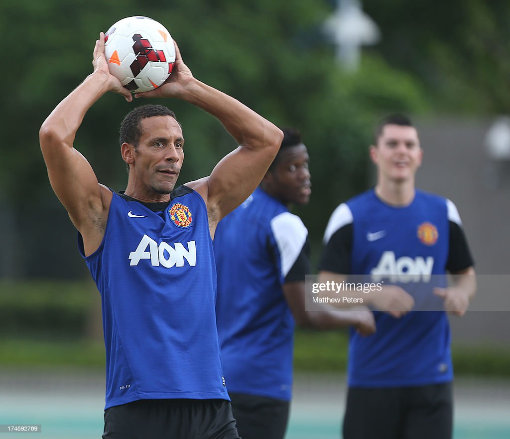 <a gi-track='captionPersonalityLinkClicked' href=/galleries/search?phrase=Rio+Ferdinand&family=editorial&specificpeople=157538 ng-click='$event.stopPropagation()'>Rio Ferdinand</a> of Manchester United in action during a first team training session as part of their pre-season tour of Bangkok, Australia, Japan and Hong Kong on July 28, 2013 in Hong Kong, Hong Kong.