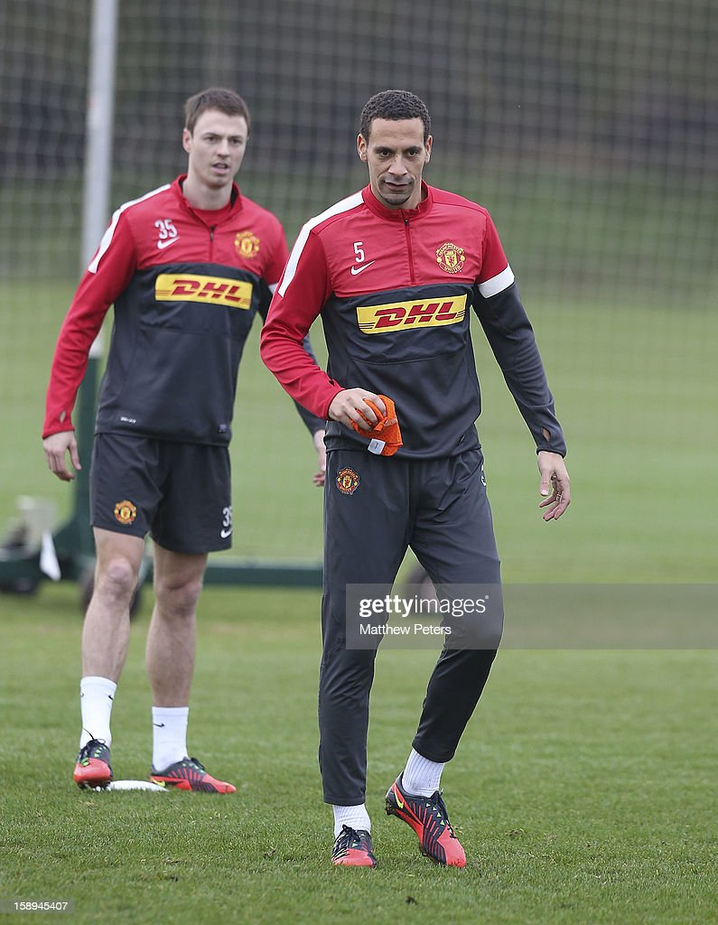 <a gi-track='captionPersonalityLinkClicked' href=/galleries/search?phrase=Rio+Ferdinand&family=editorial&specificpeople=157538 ng-click='$event.stopPropagation()'>Rio Ferdinand</a> of Manchester United in action during a first team training session at Carrington Training Ground on January 4, 2013 in Manchester, England.
