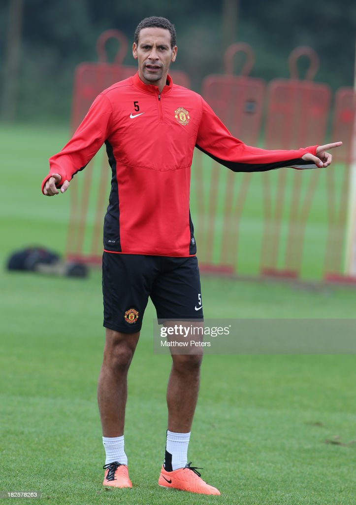 Rio Ferdinand of Manchester United in action during a first team training session, ahead of their UEFA Champions League match against Shaktar Donetsk, at Aon Training Complex on October 1, 2013 in Manchester, England.