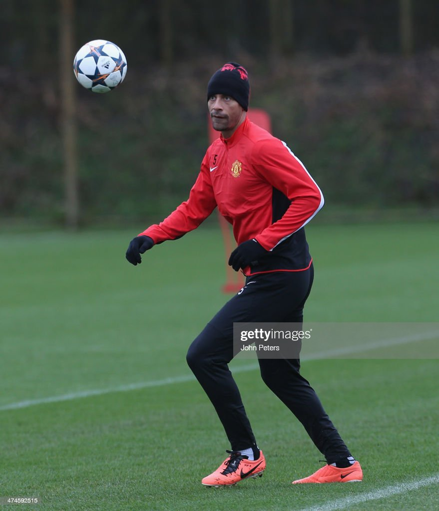 <a gi-track='captionPersonalityLinkClicked' href=/galleries/search?phrase=Rio+Ferdinand&family=editorial&specificpeople=157538 ng-click='$event.stopPropagation()'>Rio Ferdinand</a> of Manchester United in action during a first team training session, ahead of their UEFA Champions League Round of 16 match against Olympiacos, at Aon Training Complex on February 24, 2014 in Manchester, England.