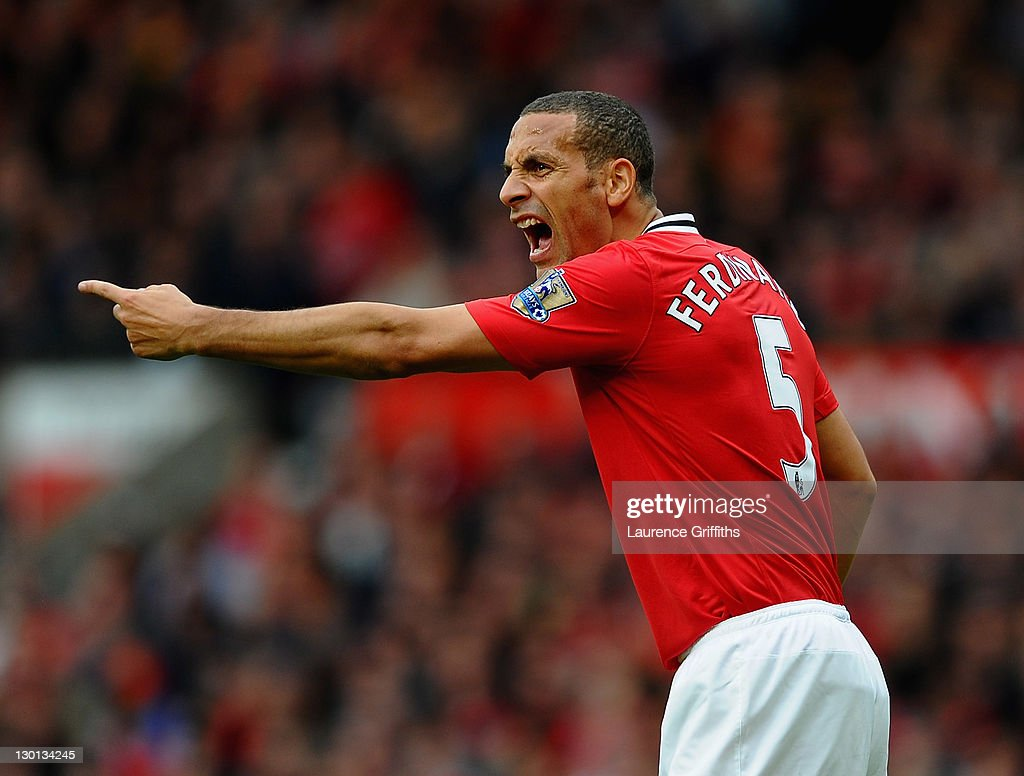 Rio Ferdinand of Manchester United in action during the Barclays Premier League match between Manchester United and Manchester City at Old Trafford on October 23, 2011 in Manchester, England.