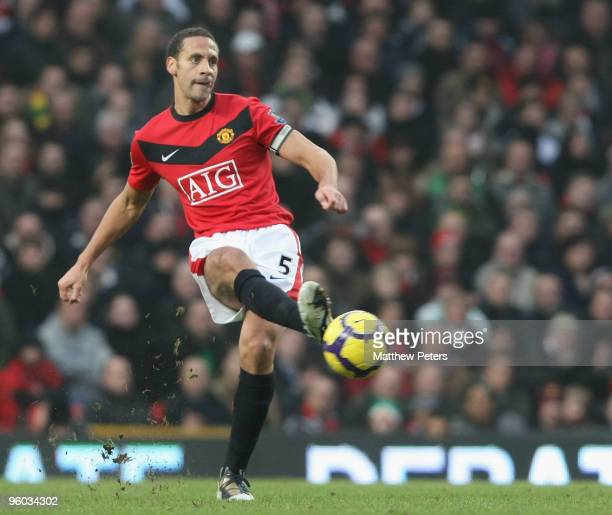 Rio Ferdinand of Manchester United in action during the FA Barclays Premier League match between Manchester United and Hull City at Old Trafford on...