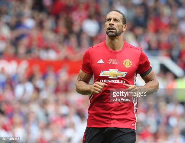 Rio Ferdinand of Manchester United in action during the Michael Carrick Testimonial match between Manchester United and Michael Carrick AllStars at...