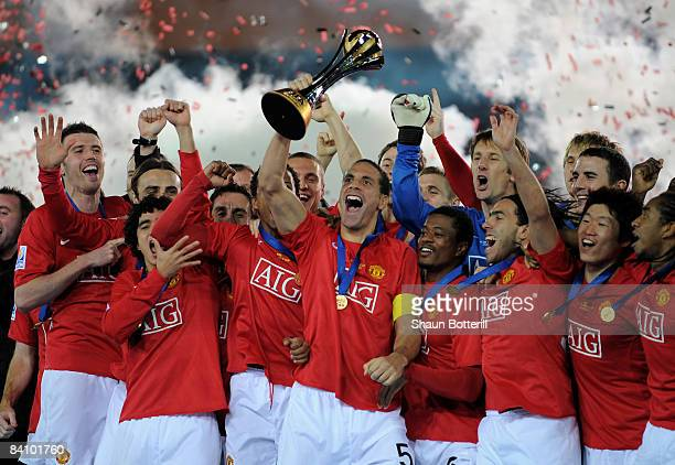 Rio Ferdinand of Manchester United lifts the FIFA Club World Cup Trophy after the FIFA Club World Cup Japan 2008 Final match between Manchester...