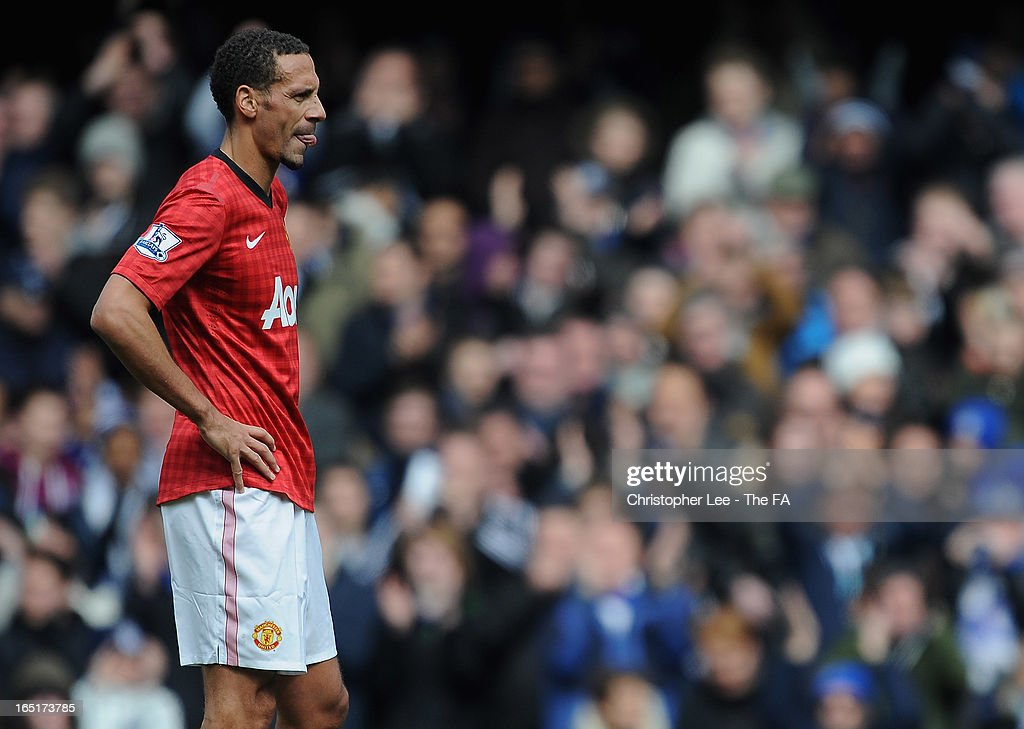<a gi-track='captionPersonalityLinkClicked' href=/galleries/search?phrase=Rio+Ferdinand&family=editorial&specificpeople=157538 ng-click='$event.stopPropagation()'>Rio Ferdinand</a> of Manchester United looks dejected during the FA Cup Sixth Round Replay match between Chelsea and Manchester United at Stamford Bridge on April 1, 2013 in London, England.