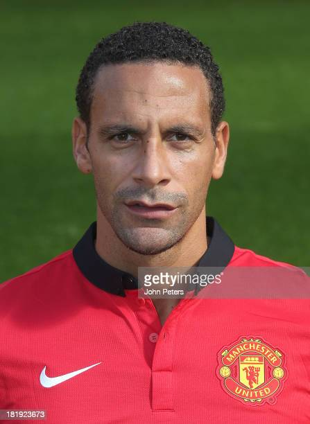 Rio Ferdinand of Manchester United poses at the annual club photocall at Old Trafford on September 26 2013 in Manchester England