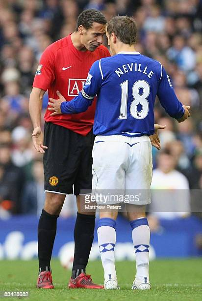 Rio Ferdinand of Manchester United reacts after Cristiano Ronaldo clashed with Phil Neville of Everton during the Barclays Premier League match...