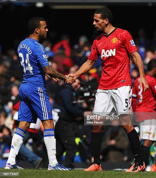 Rio Ferdinand of Manchester United shakes hands with Ryan Bertrand of Chelsea after the FA Cup with Budweiser Sixth Round Replay match between...