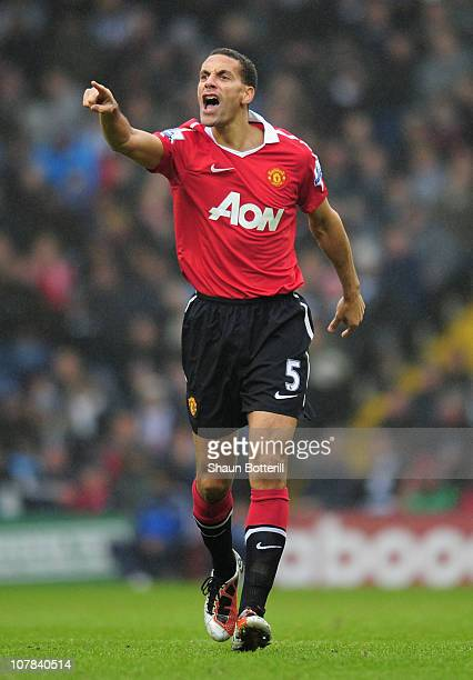 Rio Ferdinand of Manchester United shouts instructions during the Barclays Premier League match between West Bromich Albion and Manchester United at...
