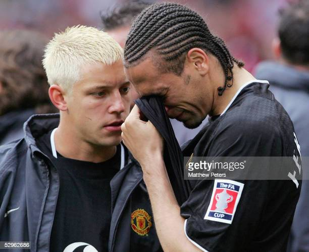 Rio Ferdinand of Manchester United shows his disappointment after losing the shootout during the FA Cup Final match between Arsenal and Manchester...