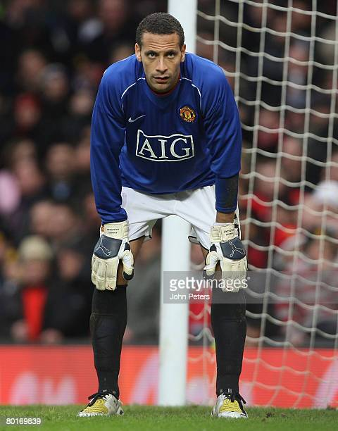 Rio Ferdinand of Manchester United takes his place in goal after the sending off of Tomasz Kuszczak during the FA Cup sponsored by eon QuarterFinal...