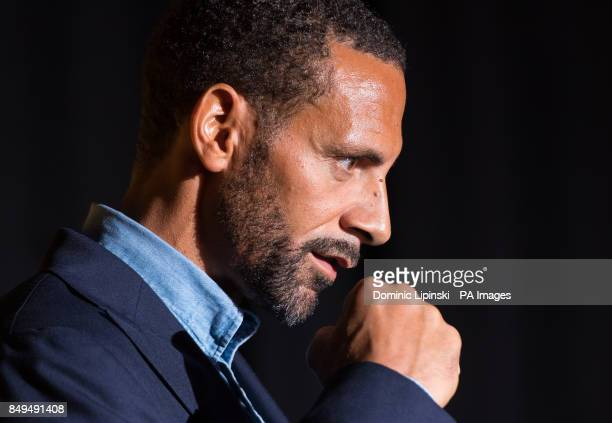Rio Ferdinand poses for photographers during the press conference at York Hall London