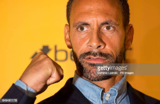 Rio Ferdinand speaks during the press conference at York Hall London