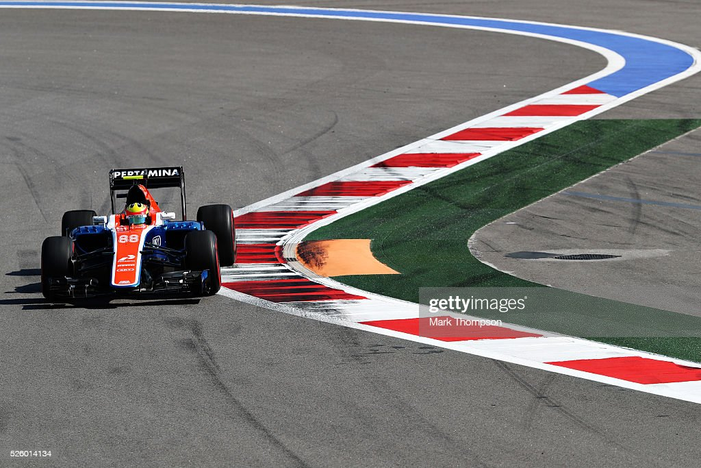 <a gi-track='captionPersonalityLinkClicked' href=/galleries/search?phrase=Rio+Haryanto&family=editorial&specificpeople=15106151 ng-click='$event.stopPropagation()'>Rio Haryanto</a> of Indonesia driving the (88) Manor Racing MRT-Mercedes MRT05 Mercedes PU106C Hybrid turbo on track during practice for the Formula One Grand Prix of Russia at Sochi Autodrom on April 29, 2016 in Sochi, Russia.