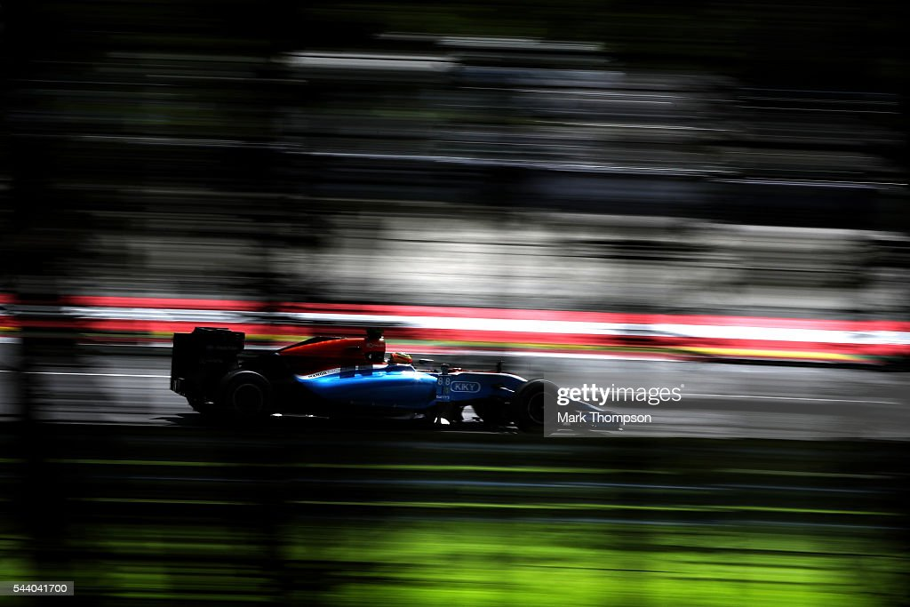 <a gi-track='captionPersonalityLinkClicked' href=/galleries/search?phrase=Rio+Haryanto&family=editorial&specificpeople=15106151 ng-click='$event.stopPropagation()'>Rio Haryanto</a> of Indonesia driving the (88) Manor Racing MRT-Mercedes MRT05 Mercedes PU106C Hybrid turbo on track during practice for the Formula One Grand Prix of Austria at Red Bull Ring on July 1, 2016 in Spielberg, Austria.