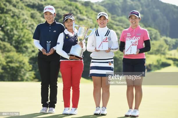 Rio Ishii Serena Aoki Yuri Yoshida and Suzuka Yamaguchi of Japan pose for a photo during the final round of the Yonex Ladies Golf Tournament 2016 at...