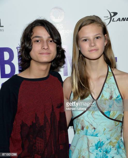 Rio Mangini and Peyton Kennedy attend the Los Angeles Premiere of 'Bill Nye Science Guy' at Westside Pavilion on November 7 2017 in Los Angeles...