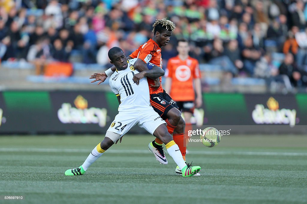 Rio Mavuba of Lille and Didier Ndong of Lorient during the French Ligue 1 match between Fc Lorient and Lille OSC at Stade du Moustoir on April 30, 2016 in Lorient, France.