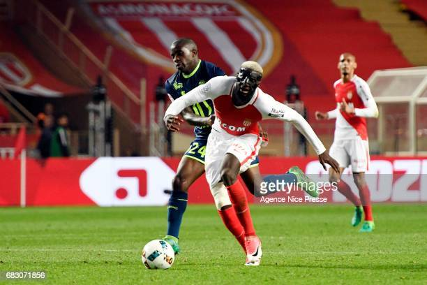 Rio Mavuba of Lille and Tiemoue Bakayoko of Monaco during the Ligue1 match between As Monaco and Lille OSC at Louis II Stadium on May 14 2017 in...