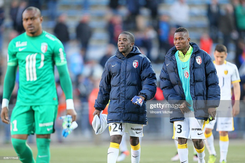 Rio Mavuba of Lille and Youssouf Kone at the end of the French Ligue 1 match between Fc Lorient and Lille OSC at Stade du Moustoir on April 30 2016...