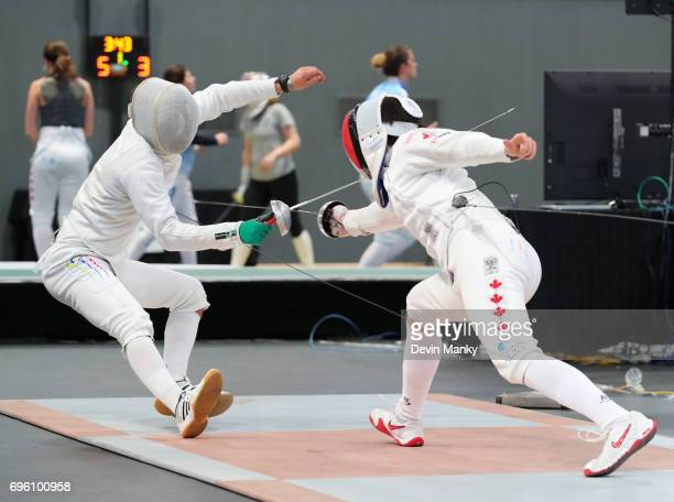 Rio Olympian Maxime BrinckCroteau of Canada fences Andres Felipe Campos Zarate of Colombia during the Men's Epee event on June 14 2017 at the...