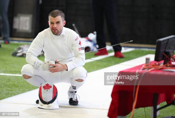 Rio Olympian Maxime BrinckCroteau winks to the camera before a match during the Senior Men's Epee event on April 21 2017 at the Canadian National...