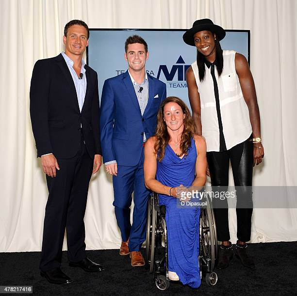 Rio Olympic and Paralympic hopefuls Ryan Lochte David Boudia Tatyana McFadden and Tina Charles attend the TeamUSA New View event at Midtown Loft...