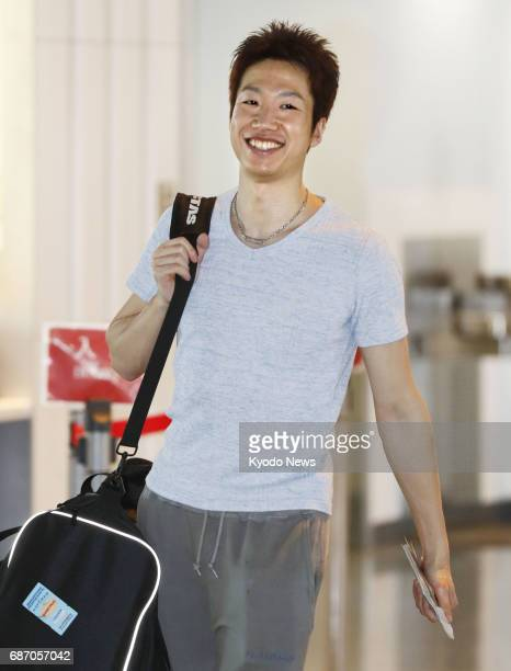 Rio Olympic table tennis singles bronze medalist Jun Mizutani leaves Narita airport near Tokyo on May 23 for Germany to participate in the world...