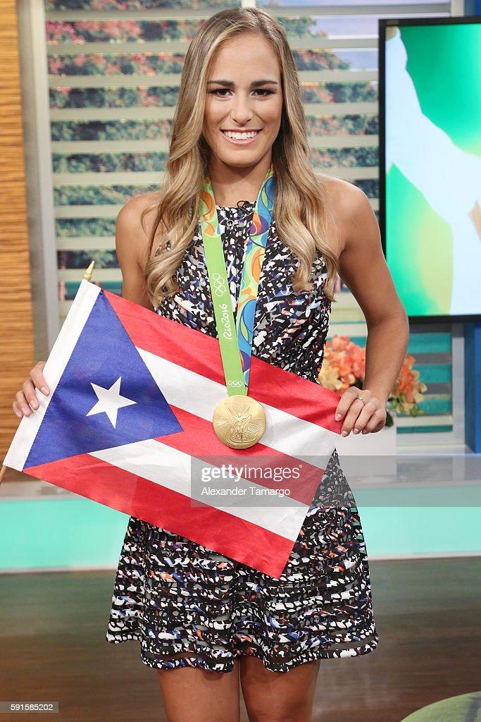 Rio Olympics 2016 Women's Singles Tennis Gold medalist Monica Puig of Puerto Rico is seen on the set of 'Un Nuevo Dia' at Telemundo Studios on August 17, 2016 in Miami, Florida.