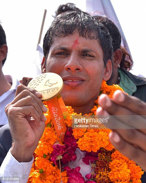 Rio Paralympics Gold medallist Devendra Jhajharia arrives at Jaipur International Airport on 24 September 2016 in Jaipur India Jhajharia became the...
