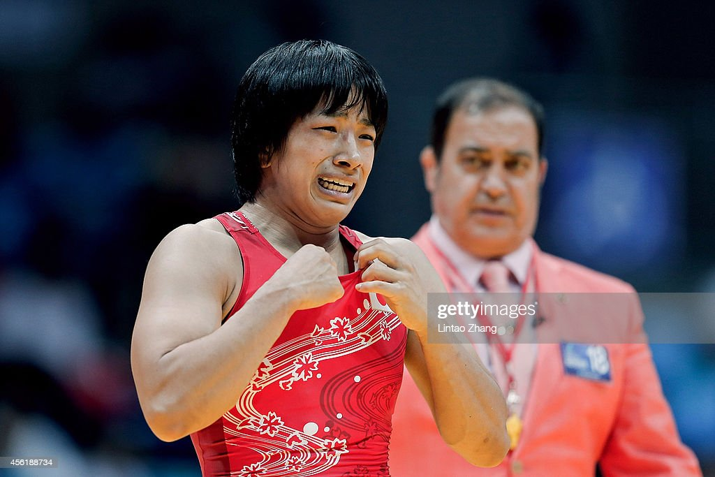 Rio Watari of Japan reacts after win gold in the Wrestling Women's Freestyle 63 kg Gold Medal Final against Xiluo Zhuoma of China during day eight of the 2014 Asian Games at Dowon Gymnasium on September 27, 2014 in Incheon, South Korea.