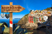 The way of love sign (via dell'amore) in Riomaggiore village, cinque terre national park in Liguria Italy. UNESCO world heritage site