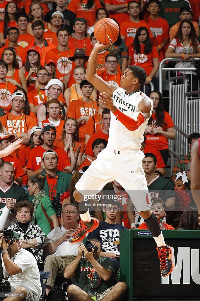 Rion Brown #15 of the Miami Hurricanes goes to the basket against the Florida State Seminoles on January 27, 2013 at the BankUnited Center in Coral Gables, Florida. The Hurricanes defeated the Seminoles 71-47.
