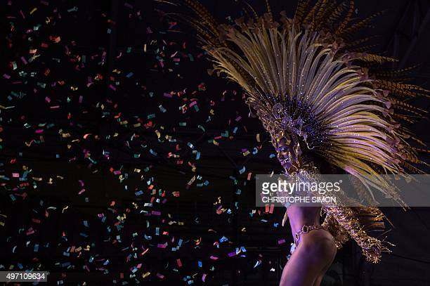 Rio's Carnival newly elected second princess Bianca dos Santos Lopes Monteiro dances during the election of King Momo and the queen of Rio Carnival...