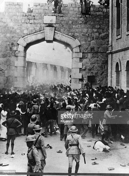 A riot at Jaffa Gate Jerusalem during a revolt in the British mandate of Palestine