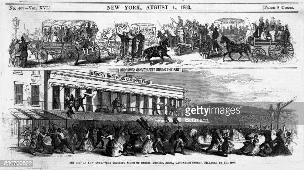 Riot in New York in 1863 in front of Brooks Brothers clothing store Woodcut