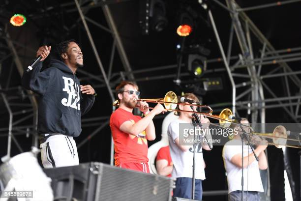 Riot Jazz Brass Band performing at the Love Supreme jazz festival Glynde Place East Sussex United Kingdom 2nd July 2016