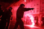 Riot police advance against protestors during clashes between mostly leftwing protesters and police on May Day in the district of Kreuzberg May 1...