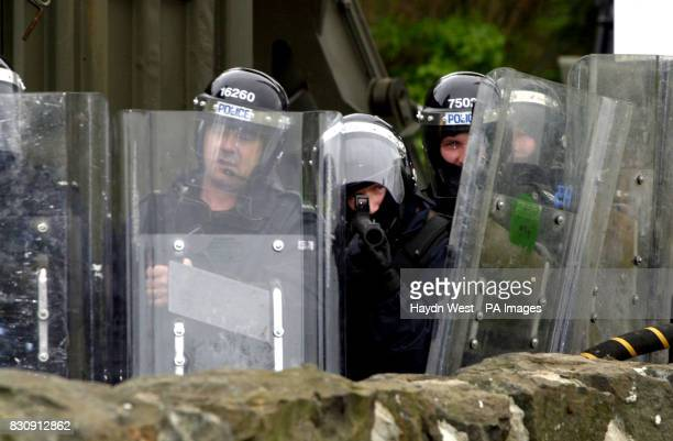 Riot police at Drumcree Portadown in Northern Ireland following a protestant Sunday church service by the Portadown Orangemen Later trouble erupted...