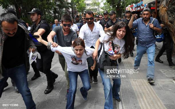 TOPSHOT Riot police block protesters demonstrating in support of two hungerstrikers who were taken into custody in May in Ankara on June 8 2017 On...