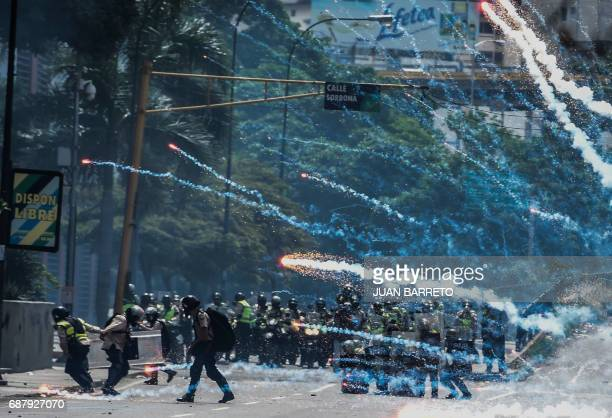 TOPSHOT Riot police clash with opposition demonstratos in Caracas on May 24 2017 Venezuela's President Nicolas Maduro formally launched moves to...
