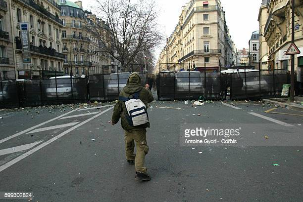 Riot police clash with students in Paris after thousands of students demonstrated during the day to protest the implementation of Dominique de...