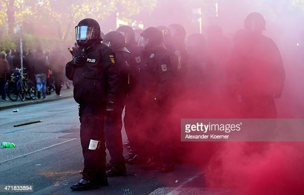 Riot Police forces are seen while clashing with left wing protesters during annual May Day demonstrations on May 1 2015 in Hamburg Germany In Germany...